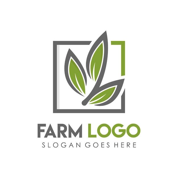 Casa de fazenda e modelo de design de logotipo da agricultura