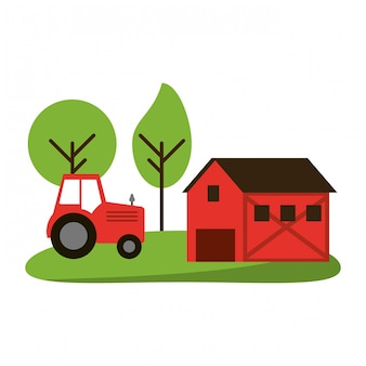 Casa de fazenda e trator na natureza