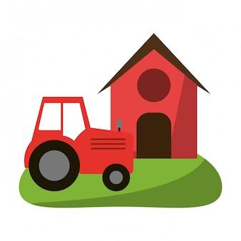 Casa de fazenda e trator