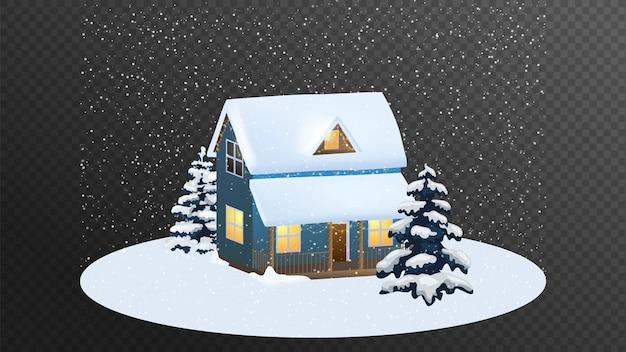 Casa de feliz natal. desenho animado.
