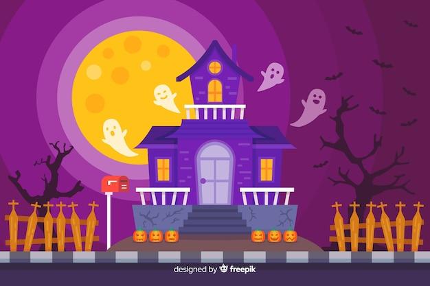 Casa de festa de halloween plana com fantasmas