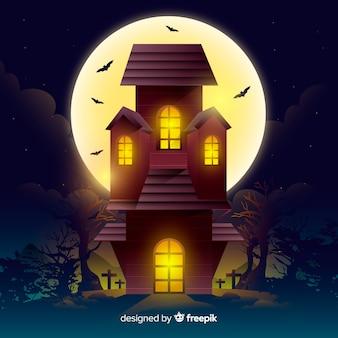 Casa de festa de halloween plana em uma noite de lua cheia