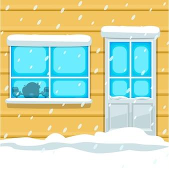 Casa de frente de inverno dos desenhos animados com cena de silhueta de criança