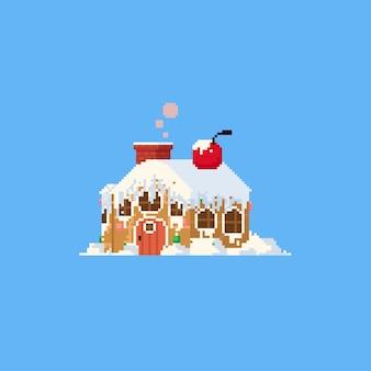 Casa de gengibre grande de pixel