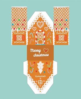 Casa de gengibre presente imprimível com elementos de esmalte de natal.