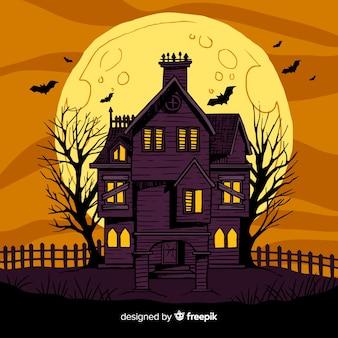 Casa de halloween abandonada desenhada de mão