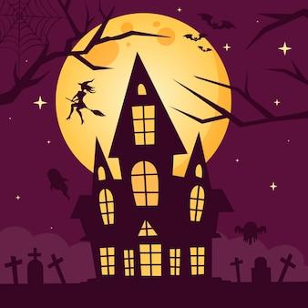 Casa de halloween com desenho plano com bruxa
