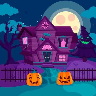 Casa de halloween com design plano e abóboras