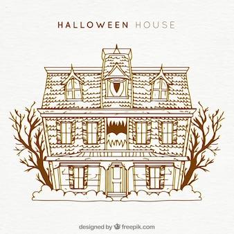 Casa de halloween com estilo vintage