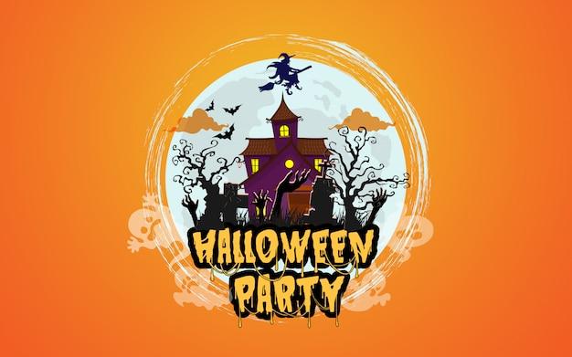 Casa de halloween com floresta assustadora à noite