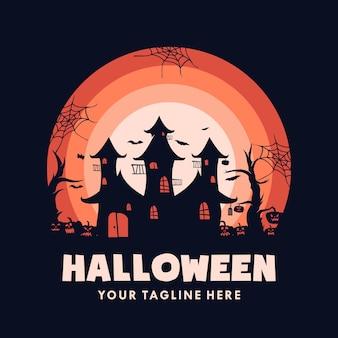 Casa de halloween com logotipo de abóbora