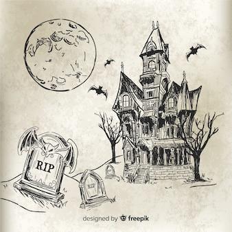 Casa de halloween desenhada de mão