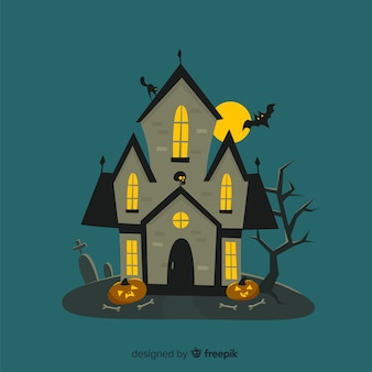 Casa de halloween dos desenhos animados com árvores