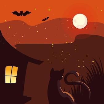 Casa de halloween e gato na frente da lua design, feriado e ilustração de tema assustador