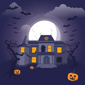 Casa de halloween em design plano