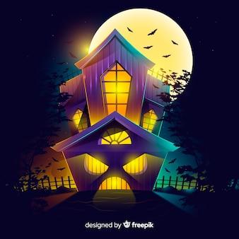 Casa de halloween plana com raiva em uma noite de lua cheia