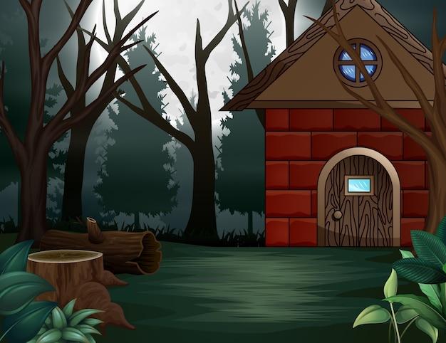 Casa de ilustração na frente do fundo de lua cheia