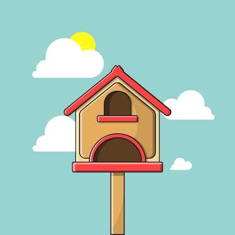 Casa de ilustração vetorial de pássaro com estilo cartoon