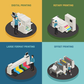 Casa de impressão 4 ícones isométricos