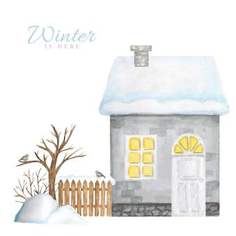 Casa de inverno cinza dos desenhos animados com cerca de madeira e casal de pássaros dom-fafe