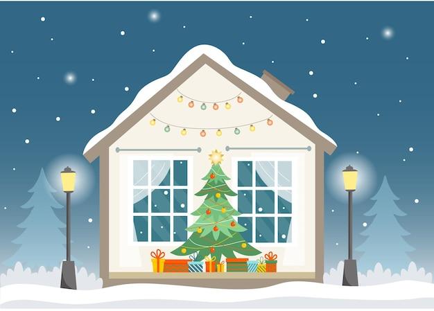 Casa de inverno em corte com árvore de natal e apresenta casa em árvores de noite de inverno luzes de rua