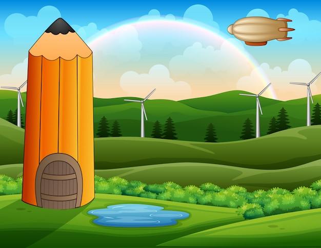 Casa de lápis de desenho animado na paisagem verde com dirigível sobre