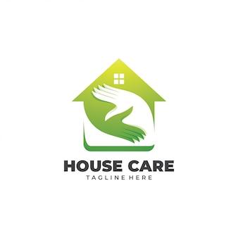 Casa de lar e logotipo de mão de cuidados
