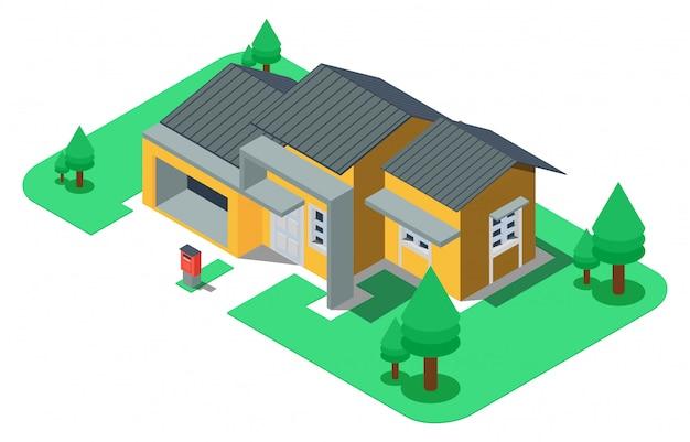 Casa de luxo isométrica com quintal grande