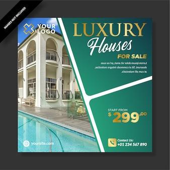 Casa de luxo limpa à venda no post do emblema Vetor Premium