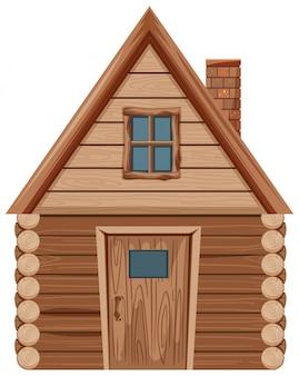 Casa de madeira com uma janela e uma porta
