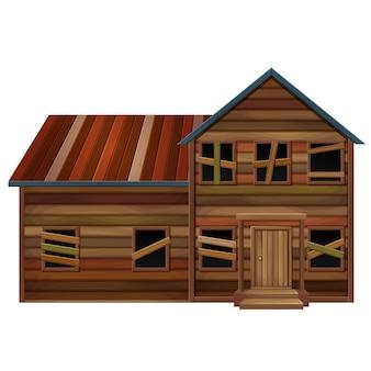 Casa de madeira em mau estado