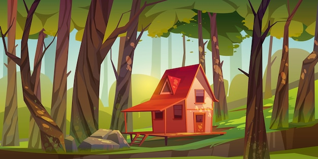 Casa de madeira na floresta ou jardim
