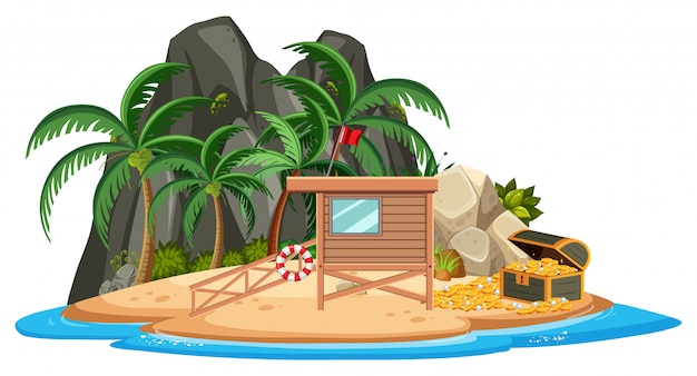 Casa de madeira na ilha