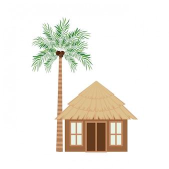 Casa de madeira na praia