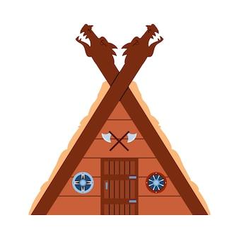 Casa de madeira nórdica viking com ilustração vetorial plana de detalhes esculpidos isolada