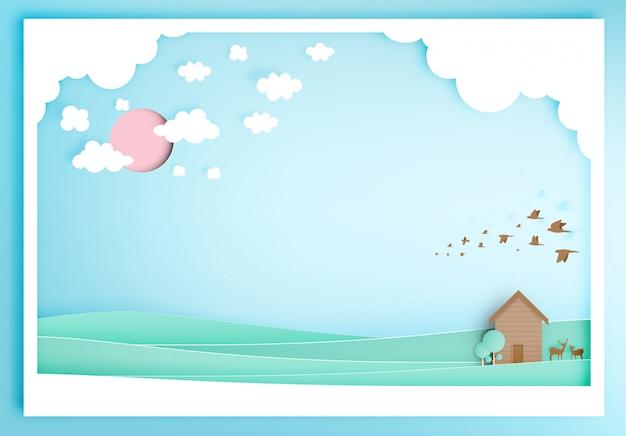 Casa de madeira pequena com estilo de arte de papel de fundo de montanha