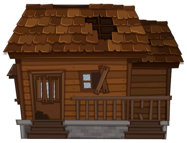 Casa de madeira velha em mau estado