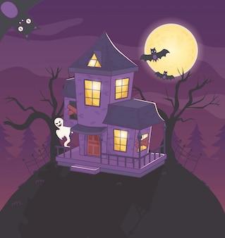 Casa de morcegos fantasma à noite halloween