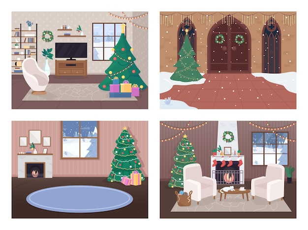 Casa de natal dentro de conjunto de ilustração em cores planas
