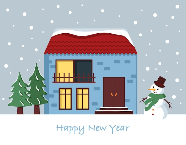 Casa de neve no cartão de natal. paisagem do inverno com flocos de neve, boneco de neve e abetos sobre fundo azul. cartão de feliz ano novo