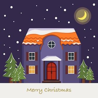 Casa de neve no cartão de natal. paisagem do inverno com flocos de neve e pinheiros sobre fundo azul do céu noturno com a lua. cartão de feliz ano novo