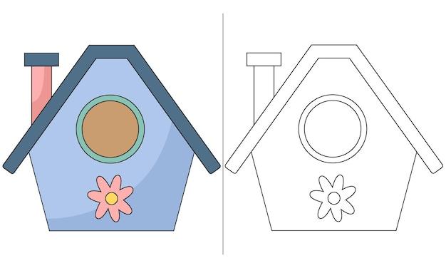 Casa de nidificação de pássaros com ilustração de livro para colorir infantil