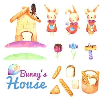Casa de pão de coelho cartoon em aquarela
