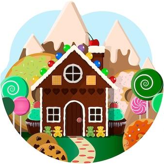 Casa de pão de mel com árvores de doces e doces montanhas ilustração em vetor brilhante dos desenhos animados