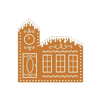 Casa de pão de mel com relógio biscoito de natal assado