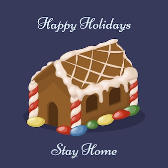 Casa de pão de mel e conceito de ficar em casa. biscoitos natalinos. cartão de natal de inverno.