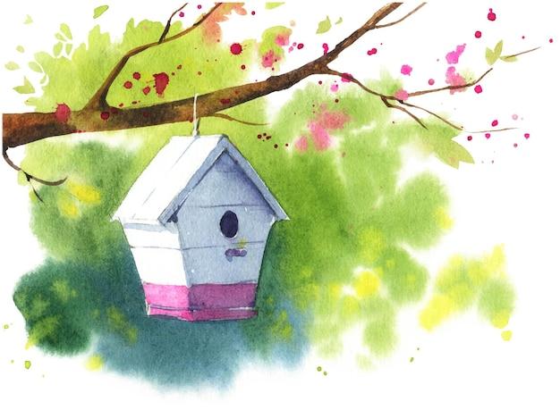 Casa de passarinho branca de madeira em um galho de árvore em flor, ilustração em aquarela de primavera