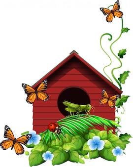 Casa de passarinho com flores e insetos