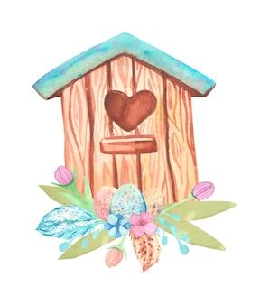 Casa de passarinho em aquarela e coleção de ovos de páscoa.