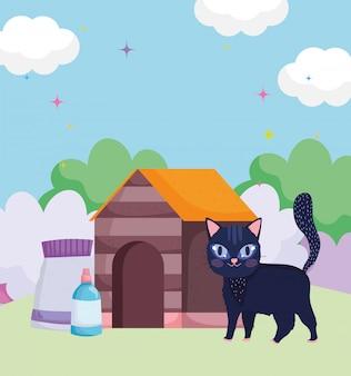 Casa de passeio de gato com comida de animais de estimação ao ar livre